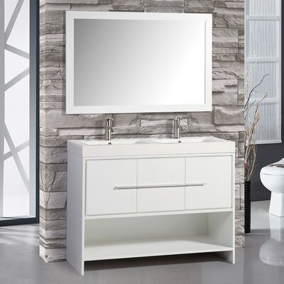 Chauncy 48 Double Sink Bathroom Vanity Set with Mirror Base Finish: White