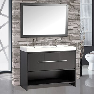 Chauncy 48 Double Sink Bathroom Vanity Set with Mirror Base Finish: Espresso