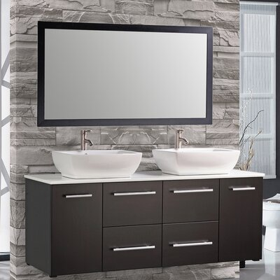 Nepal 63 Floating Double Bathroom Vanity Set with Mirror