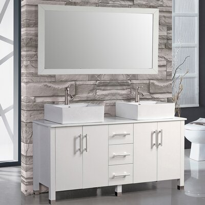 Aruba 60 Double Bathroom Vanity Set with Mirror Base Finish: White