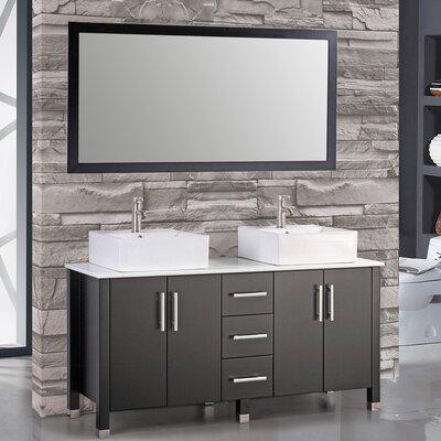 Aruba 60 Double Bathroom Vanity Set with Mirror Base Finish: Espresso