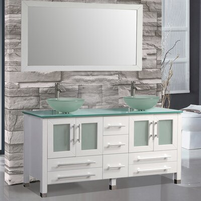 Cuba 61 Double Bathroom Vanity Set with Mirrors Base Finish: White