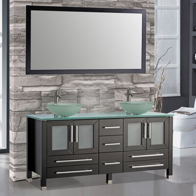 Cuba 61 Double Bathroom Vanity Set with Mirrors Base Finish: Espresso