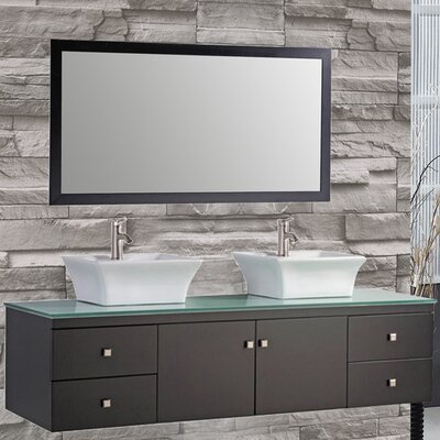 Nepal 72 Floating Double Bathroom Vanity Set with Mirror Base Finish: Espresso