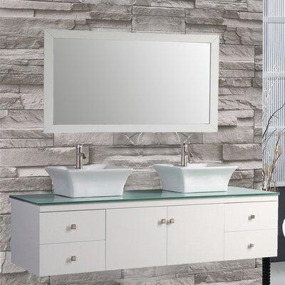 Nepal 72 Floating Double Bathroom Vanity Set with Mirror Base Finish: White