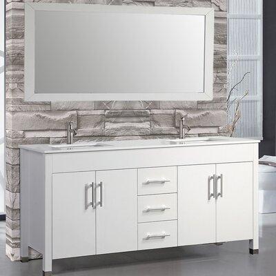 Presler 71.25 Double Sink Bathroom Vanity Set with Mirror