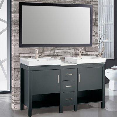 Belarus I 60 Double Sink Bathroom Vanity Set with Mirror Base Finish: Espresso