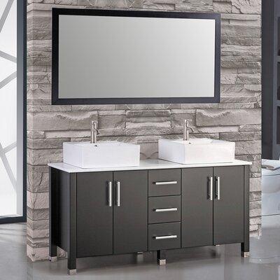Aruba 71 Double Sink Bathroom Vanity Set with Mirror Base Finish: Espresso