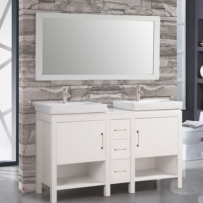 Belarus I 60 Double Sink Bathroom Vanity Set with Mirror Base Finish: White