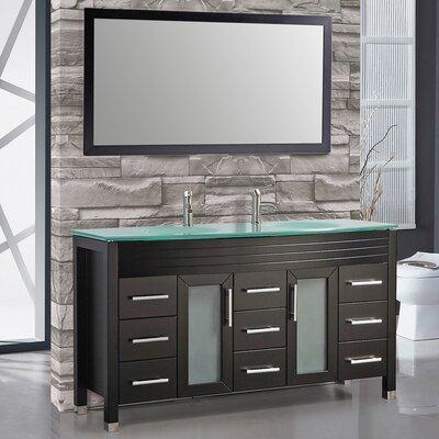 Figi 71 Double Sink Bathroom Vanity Set with Mirror Base Finish: Espresso