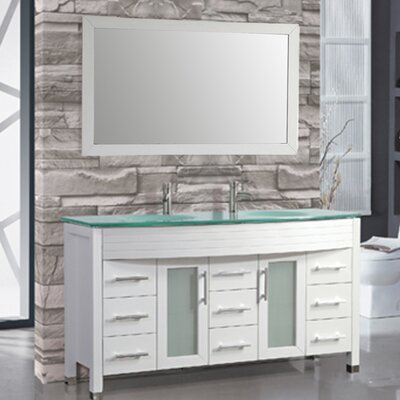 Figi 71 Double Sink Bathroom Vanity Set with Mirror Base Finish: White
