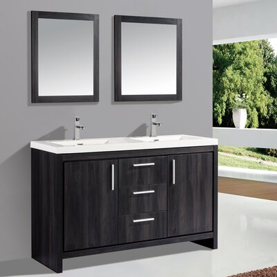 Peiffer 59 Double Sink Bathroom Vanity Set with Mirror Base Finish: Black Walnut