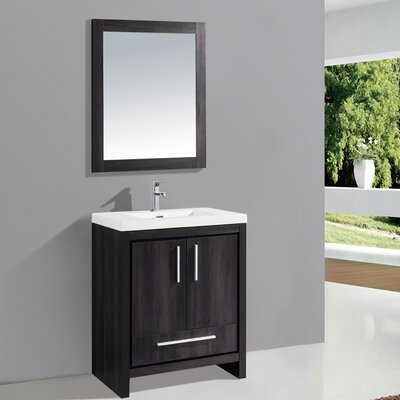 Peiffer 24 Single Sink Bathroom Vanity Set with Mirror Base Finish: Black Walnut