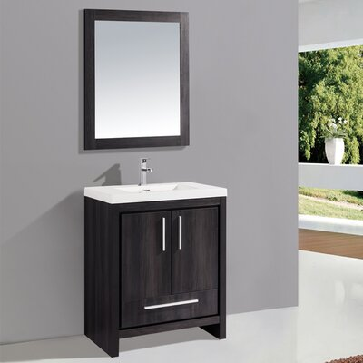 Miami 30 Single Sink Modern Bathroom Vanity Set with Mirror Base Finish: Black Walnut