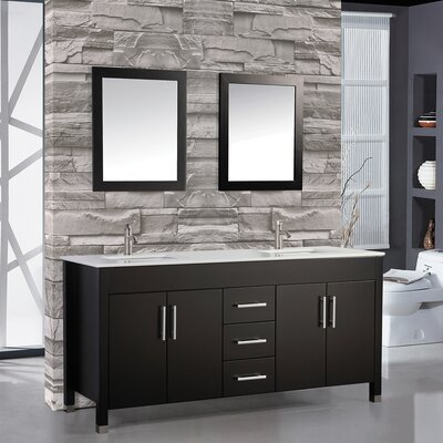 Monaco 84 Double Sink Bathroom Vanity Set with Mirrors Base Finish: Espresso