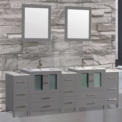 Argentina 84 Double Sink Bathroom Vanity Set with Mirror Color: Grey
