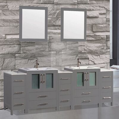 Argentina 96 Double Sink Bathroom Vanity Set with Mirror Finish: Gray