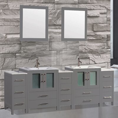 Argentina 108 Double Sink Bathroom Vanity Set with Mirror Finish: Gray