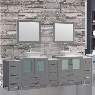 Jordan 108 Double Sink Bathroom Vanity Set with Mirror Finish: Grey
