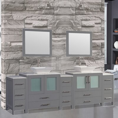 Jordan 84 Double Sink Bathroom Vanity Set with Mirror Finish: Gray