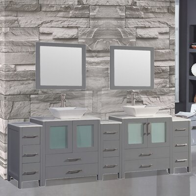 Powley 96 Double Sink Bathroom Vanity Set with Mirror Finish: Gray