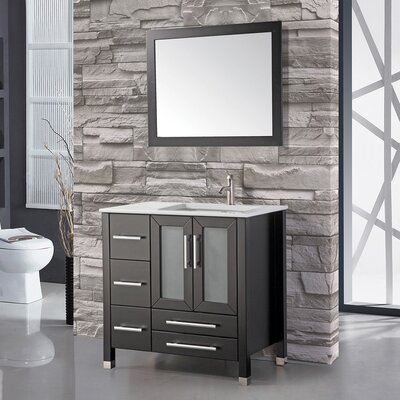 Sweden 36 Single Sink Bathroom Vanity Set with Mirror Base Finish: Espresso