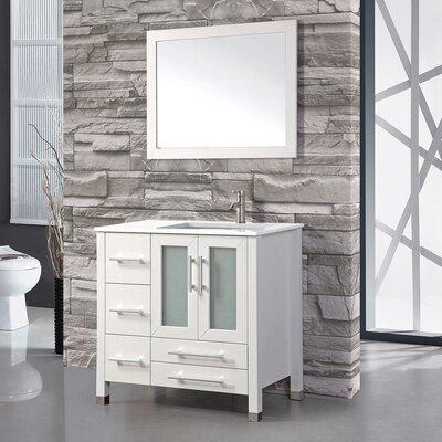 Sweden 36 Single Sink Bathroom Vanity Set with Mirror Base Finish: White