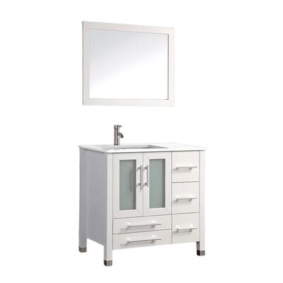 Sweden 36 Single Sink Bathroom Vanity Set with Mirror Base Finish: White