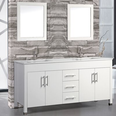 Monaco 60 Double Bathroom Vanity Set with Mirror Base Finish: White