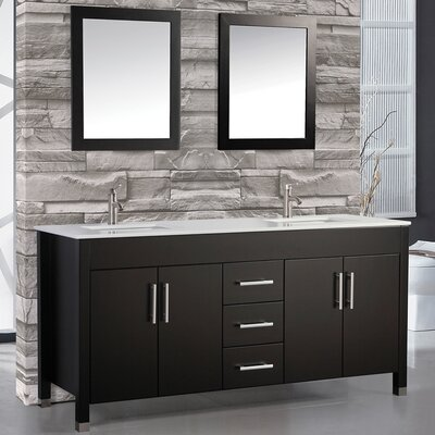 Monaco 60 Double Bathroom Vanity Set with Mirror Base Finish: Espresso