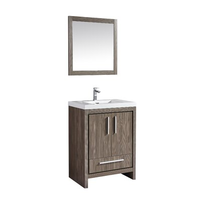 Miami 24 Single Sink Modern Bathroom Vanity Set with Mirror Base Finish: Gray Pine