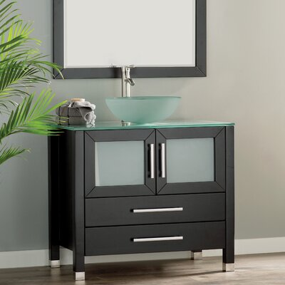 Cuba 36 Single Sink Bathroom Vanity Set with Mirror Base Finish: Espresso