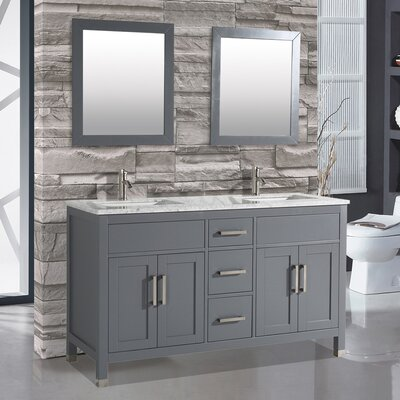 Ricca 72 Double Sink Bathroom Vanity Set with Single Mirror Base Finish: Gray