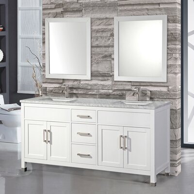 Ricca 72 Double Sink Bathroom Vanity Set with Single Mirror Base Finish: White