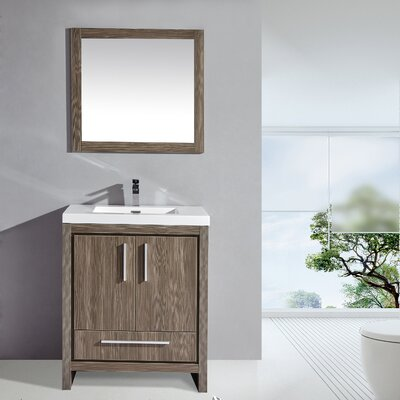 Miami 30 Single Sink Modern Bathroom Vanity Set with Mirror Base Finish: Gray Pine