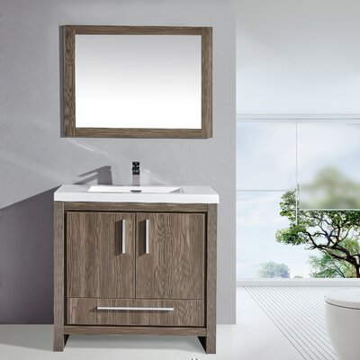 Miami 36 Single Sink Modern Bathroom Vanity Set with Mirror Base Finish: Gray Pine