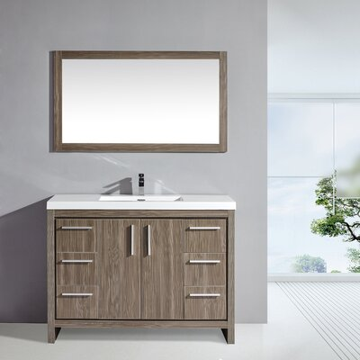 Miami 48 Single Sink Modern Bathroom Vanity Set with Mirror Base Finish: Gray Pine