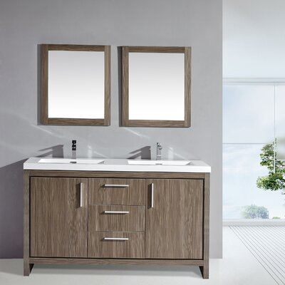Miami 59 Double Sink Modern Bathroom Vanity Set with Mirror Base Finish: Gray Pine