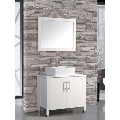 Aruba 36 Single Sink Bathroom Vanity Set with Mirror Base Finish: White