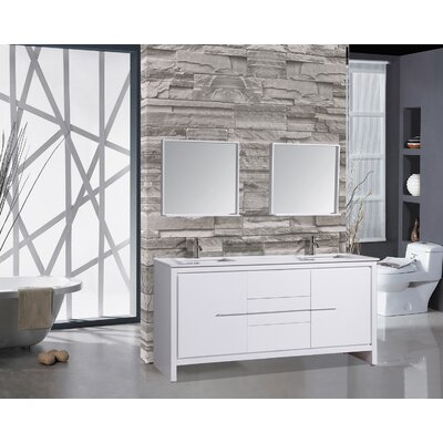 Cypress 72 Double Modern Bathroom Vanity Set with Mirrors Base Finish: White
