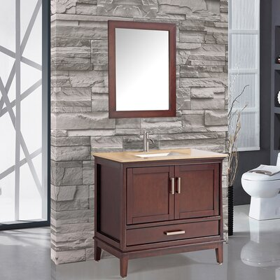Sierra 35.8 Single Bathroom Vanity Set with Mirror and Faucet