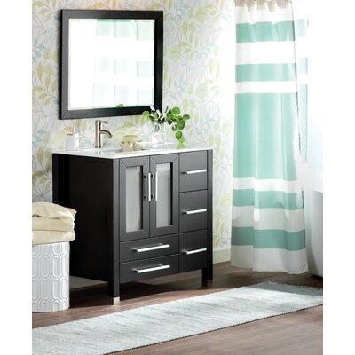 Sweden 36 Single Sink Bathroom Vanity Set with Mirror Base Finish: Espresso