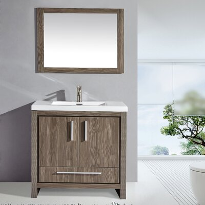 Peiffer 36 Single Sink Bathroom Vanity Set with Mirror Base Finish: Gray Pine
