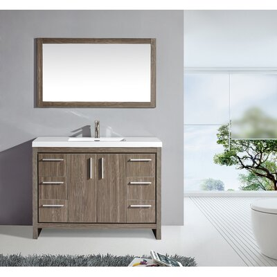 Peiffer 48 Single Sink Bathroom Vanity Set with Mirror Base Finish: Gray Pine