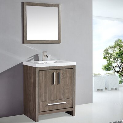 Peiffer 30 Single Sink Bathroom Vanity Set with Mirror Base Finish: Gray Pine