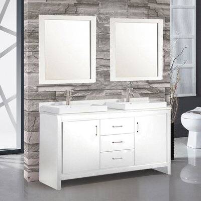 Chauncy Contemporary 60 Double Sink Bathroom Vanity Set with Mirror