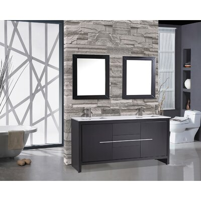 Peirce 72 Double Modern Bathroom Vanity Set with Mirrors Base Finish: Espresso