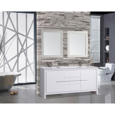 Peirce 72 Double Modern Bathroom Vanity Set with Mirrors Base Finish: White