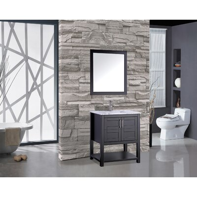 Rines 30 Single Bathroom Vanity Set with Mirror Base Finish: Espresso