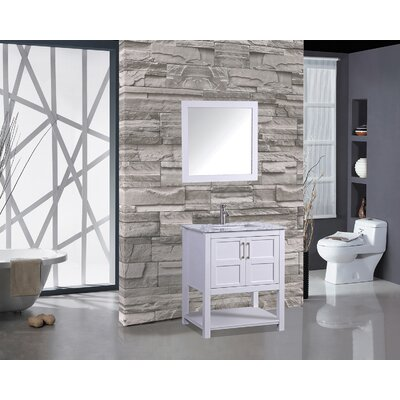 Riner 24 Single Bathroom Vanity Set with Mirror Base Finish: White
